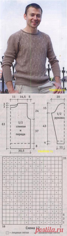 Мужские свитера спицами схемы картинки
