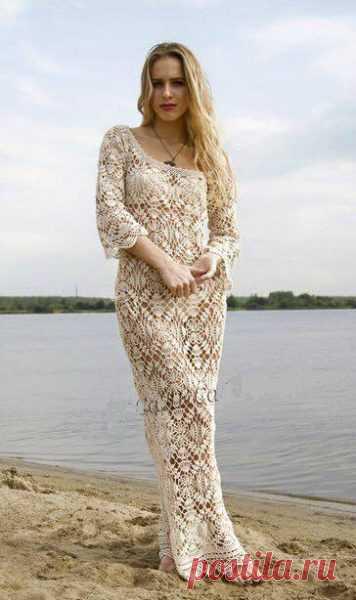 бежевое платье из квадратных мотивов крючком длинное романтическое