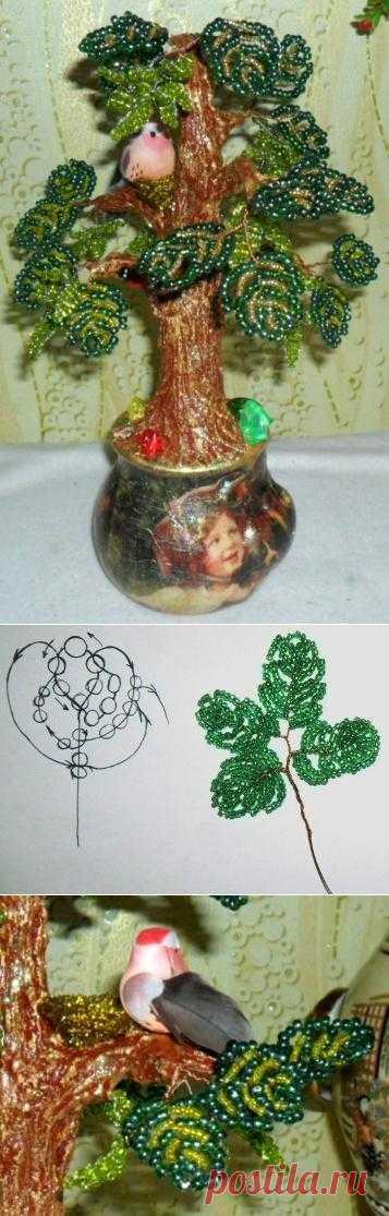 Hornbeam from beads. Master class | WOOD of BEADS of lesbisera.ru