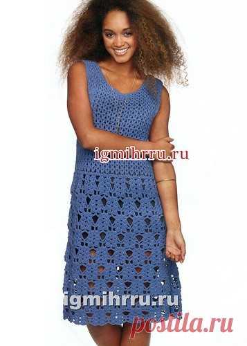 0e62a144ee2 К летнему сезону. Синее платье с ажурной юбкой. Вязание крючком ...