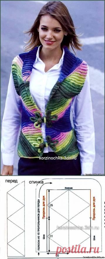 стильная женская радужная безрукавка 12 июня 2014 вязание