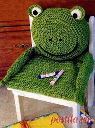 """Подушка на детский стульчик """"Лягушка"""". (Описание по клику на картинку)/"""