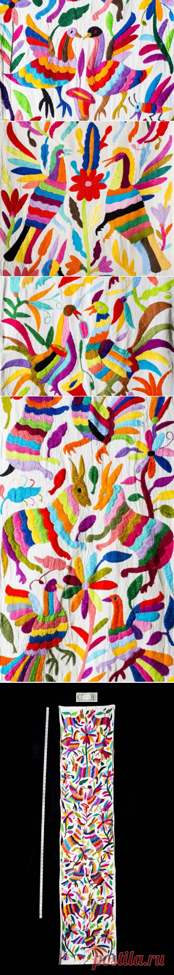 Multi Color Con Animales Camino De Mesa Y Flores Bordadas Por Otomi