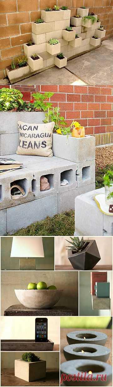 Идеи для дачи из цементных блоков и форм