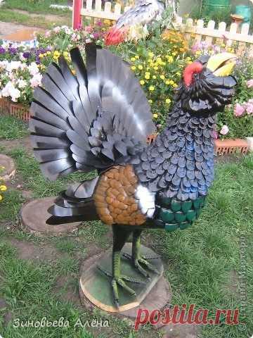 Фигуры для сада своими руками. Птицы: Аист, Глухарь и Павлин из пластиковых бутылок