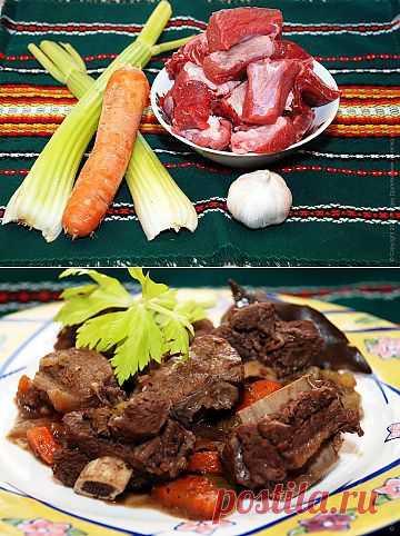 Тушеная говядина с овощами и специями.