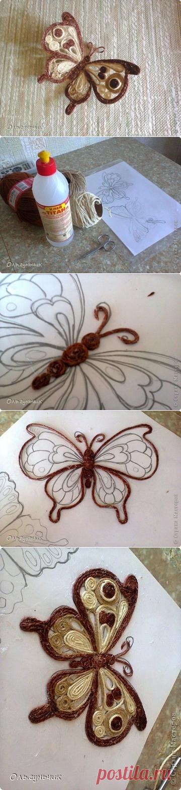 Интерьерная бабочка - шпагатная филигрань