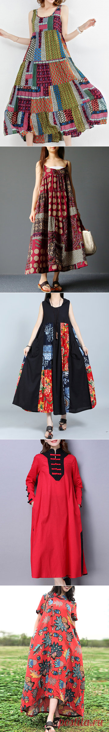 Gracila Bohemian Patchwork Sleeveless O-Neck Long Maxi Dresses Shopping Online - NewChic