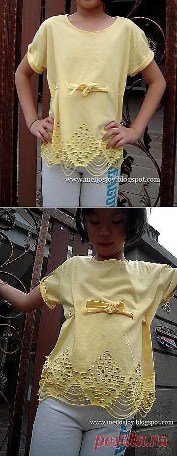 Прорези на детской футболке (Diy) / Прорези / Модный сайт о стильной переделке одежды и интерьера