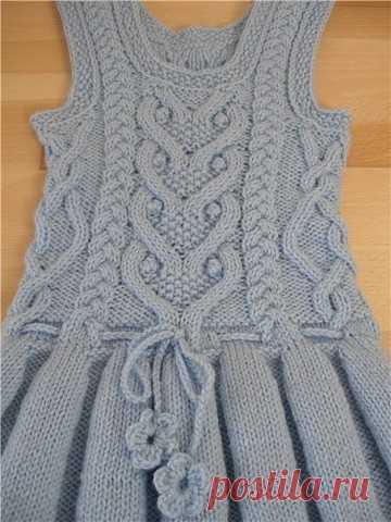 Теплый сарафан со складками для девочки (Вязание спицами) | Журнал Вдохновение Рукодельницы
