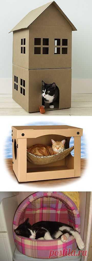 Домик для кошки своими руками из подручных средств (ФОТО).