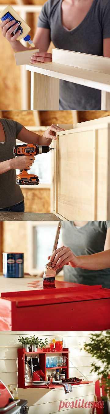 Настенный откидной столик-буфет своими руками.
