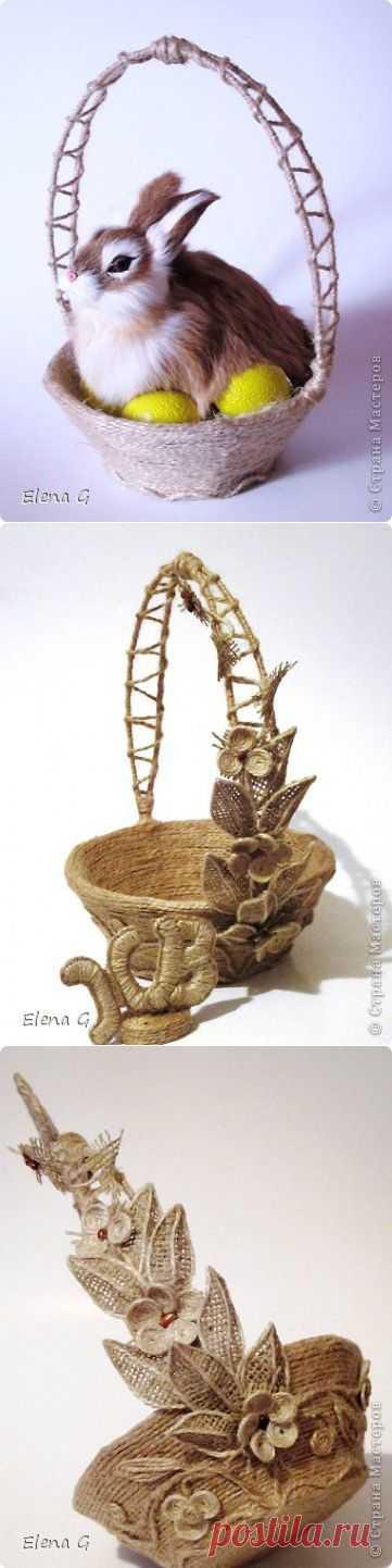 Очень красивые корзинки из шпагата и мешковины от Elena G.