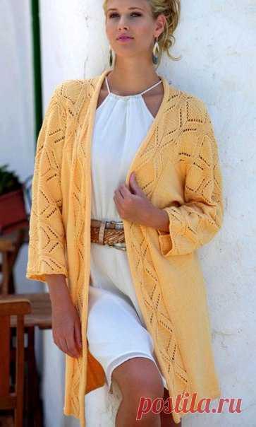Запись на стене Длинный жакет кимоно с ажурным узором Размеры: 34 - 38, 40 - 44. http://shemyvyazaniya.com/page/dlinnyj-zhaket-kimono-s-azhurnym-uzorom