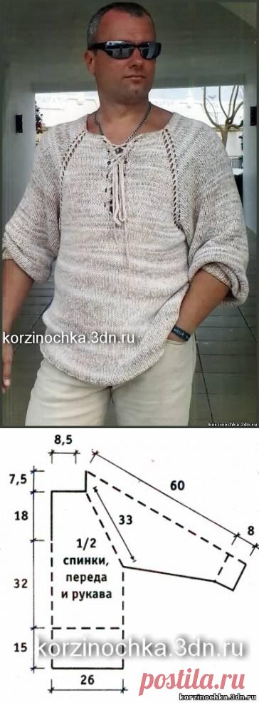 Мужской пуловер регланом, вязаный спицами - 29 Апреля 2016 - Вязание спицами, модели и схемы для вязания на спицах
