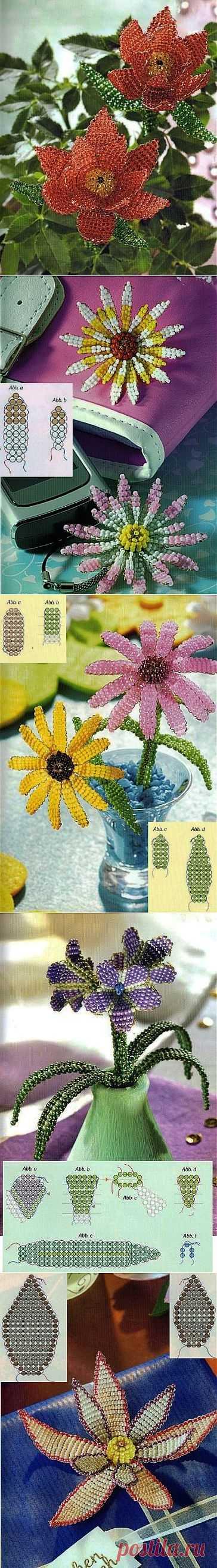 Простые схемы цветов из бисера. Параллельное плетение