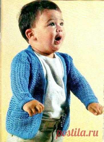 Синяя кофточка для мальчика на 18 мес. Выкройка.Схемка.