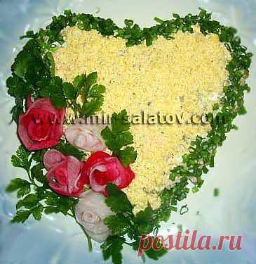 """Рецепты салатов для любимых с фото """"Валентинка с цветами"""""""