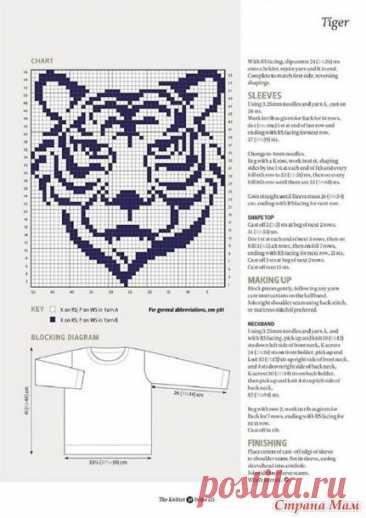 Жаккардовый узор тигр крючком/спицами как вязать, где взять схемы?