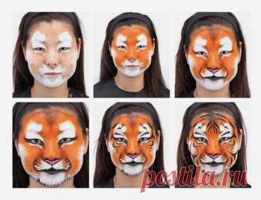 Раскрасить лицо тигренок – Как нарисовать тигра, морду тигра на лице ребенка? Как сделать аквагрим?