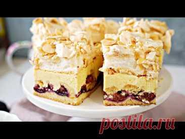 Ciasto śliwkowe z kremem i bezą – Przepis – Mała Cukierenka
