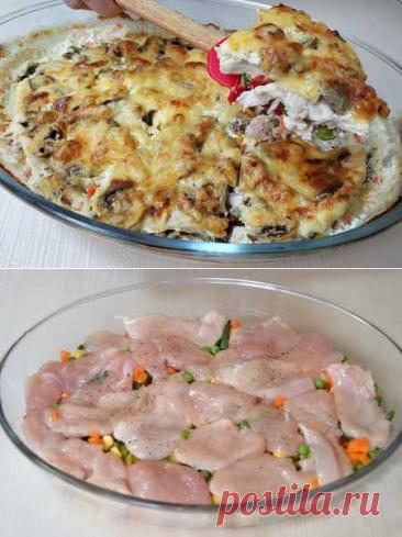 Сочная, нежная куриная запеканка с овощами - ленивый ужин для всей семьи | Вкусные кулинарные рецепты