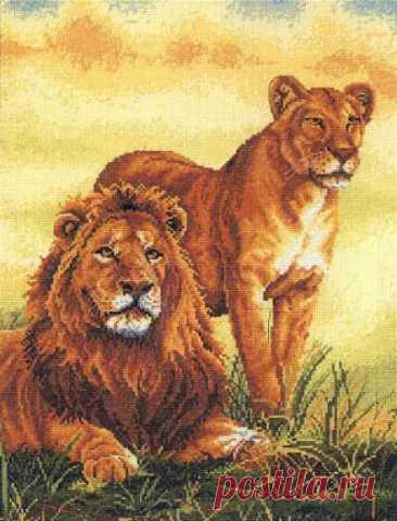 схема для вышивки крестом Семья львов
