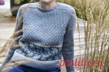Пуловер с васильками Fenne - Вяжи.ру