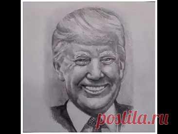 Портрет карандашом -- Дональд Трамп. Как рисовать скетчи