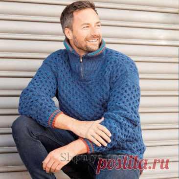 Синий мужской пуловер с узором из сот — Shpulya.com - схемы с описанием для вязания спицами и крючком