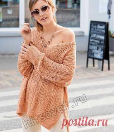 Свободный терракотовый пуловер спицами - Хитсовет