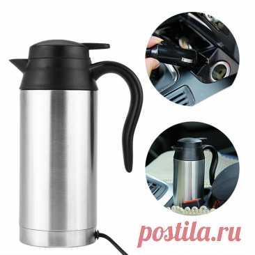 Портативные автомобильные обогреватели, автомобильный чайник 12 В, Автомобильный Электрический чайник 750 мл, автомобильный чайник из нержавеющей стали с подогревом прикуривателя,|Крышка отопления транспорта| | АлиЭкспресс
