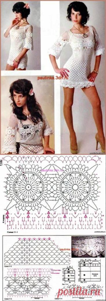 Белое вязаное платье с рюшами - Схемы вязания платья - Схемы для вязания - Уроки вязания крючком - Вязание крючком, схемы для вязания крючком