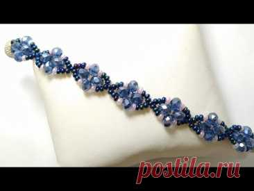 Beaded bracelet with crystals and seed beads * Браслет из кристалей и бисера *