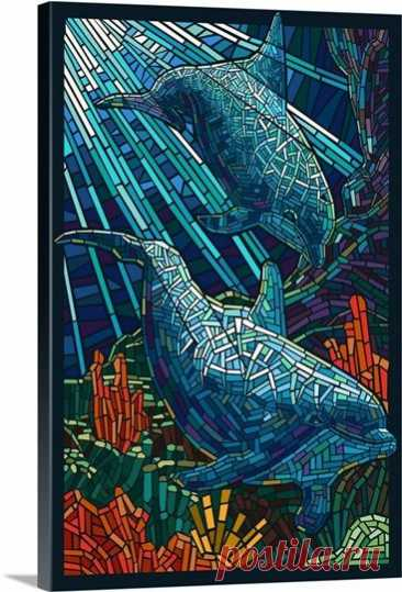 $132.99 · Dolphin - Paper Mosaic: Retro Travel Poster Wall Art, Canvas Prints, Framed Prints, Wall Peels
