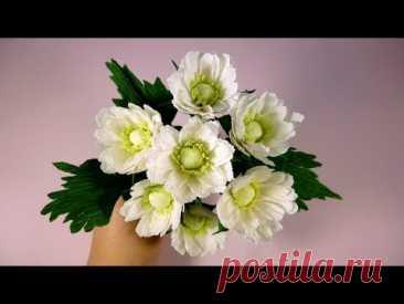 Los CRISANTEMOS muy hermosos del papel. La Clase maestra. Las flores del papel ondulado.