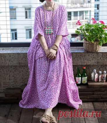 Women's plus size Dresses summer cotton dress Purple   Etsy