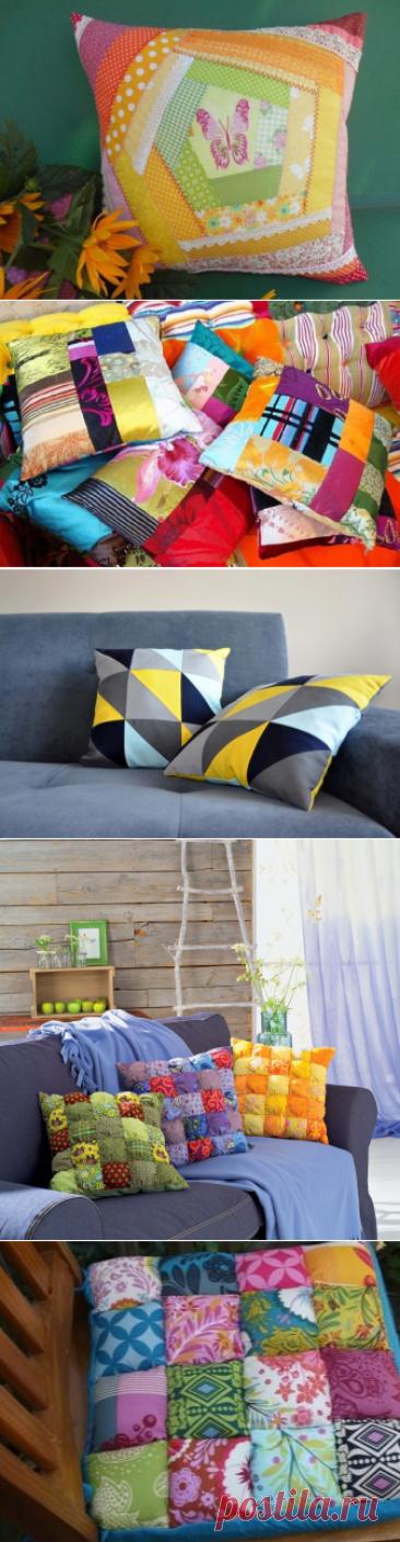 Подушки «пэчворк» (57 фото): лоскутные диванные модели из обрезков разных тканей, а также джинсовые декоративные, плоские и круглые