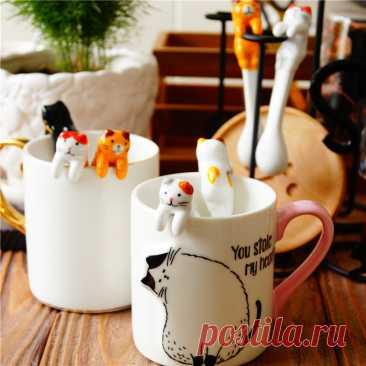 Креативная ложка, инструменты для питья, кухонное приспособление, столовая посуда, керамическая ложка для кофе и чая, короткая ручка в виде кошки Кофейные совки    АлиЭкспресс
