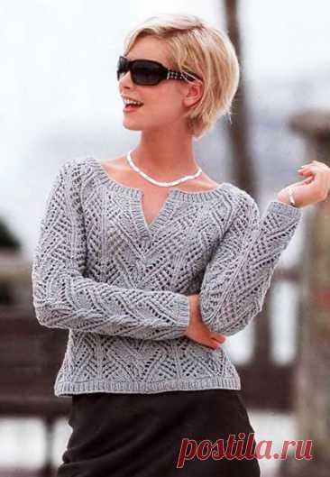 Изысканная классика спицами – ажурный пуловер для стильных леди — Пошивчик одежды