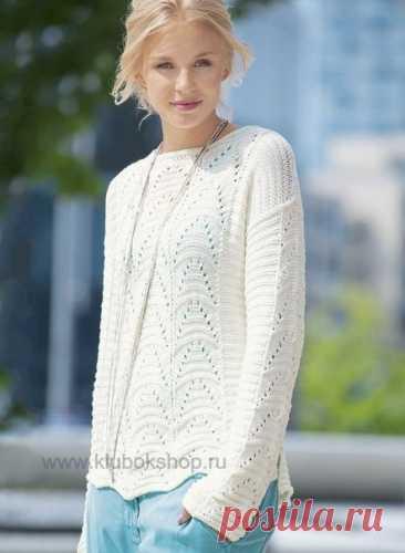 #вязаный_пуловер@modnoe.vyazanie Пуловер белого цвета. Схема.