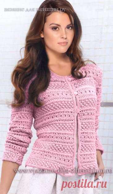 Openwork jacket knitted spokes