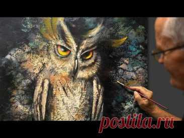 """""""Night Hunter"""" (Bird Owl) Acrylic. Artist - Viktor Yushkevich. #85 photos in 2021."""