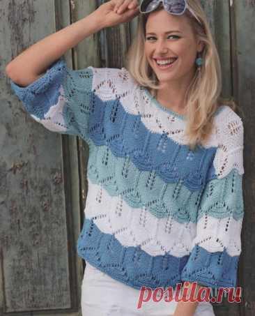 Ажурный пуловер из широких полос Волнистый узор и трехцветный полосатый дизайн гарантируют нам отличное настроение. Описание вязания пуловера Модель из журнала Сабрина № 7,