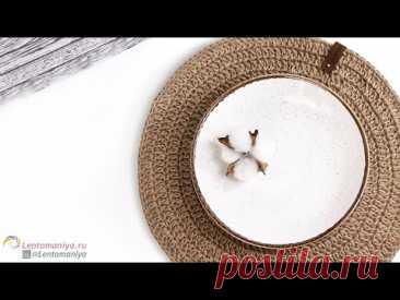 Салфетка из джута без шва . Как связать круг крючком столбиками с накидом без шва.