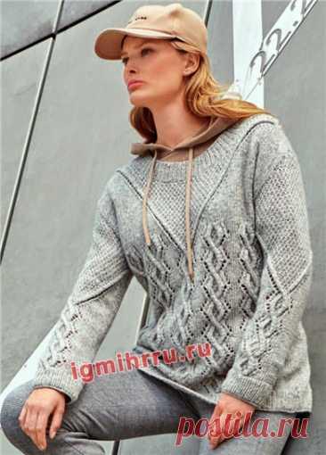 Светло-серый пуловер с ажурными ромбами