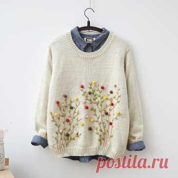Вышитый свитер Модная одежда и дизайн интерьера своими руками