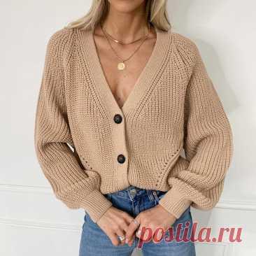 Женский вязаный кардиган Zoki, модный осенний свободный свитер с длинным рукавом, повседневные толстые женские топы на пуговицах с V образным вырезом, 2021