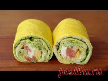 Сэндвич с яичной пленкой (без хлеба) :: Сэндвич с картофелем, сэндвич с авокадо :: Рецепты яиц