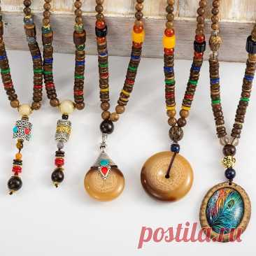 Ожерелье ручной работы в Непале буддийская мала Подвеска из деревянных бусин и ожерелье Этнические длинные массивные ювелирные изделия для мужчин и женщин   Украшения и аксессуары   АлиЭкспресс